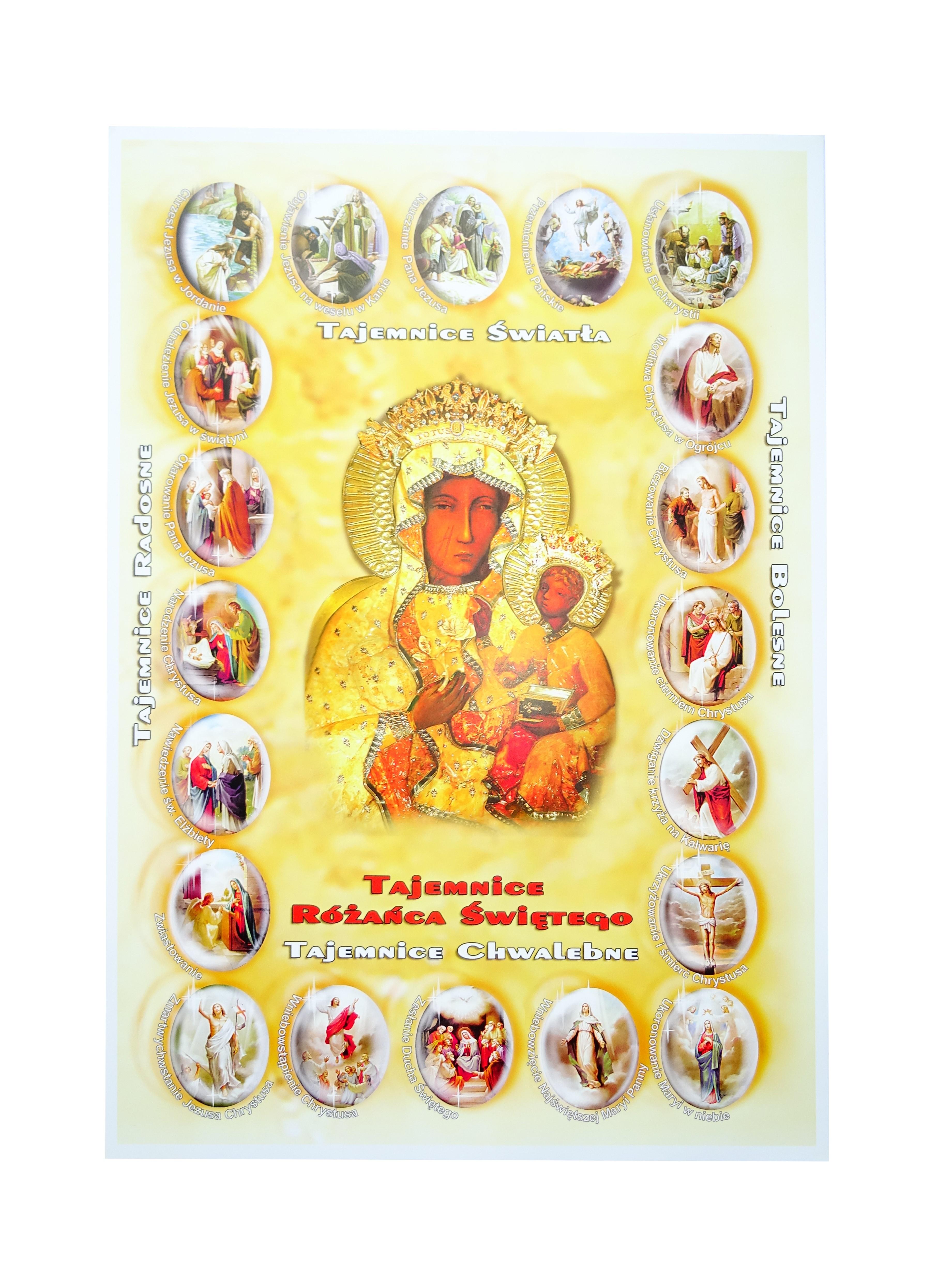 Plakat Tajemnice Różańca świętego Matka Boska Częstochowska Mat