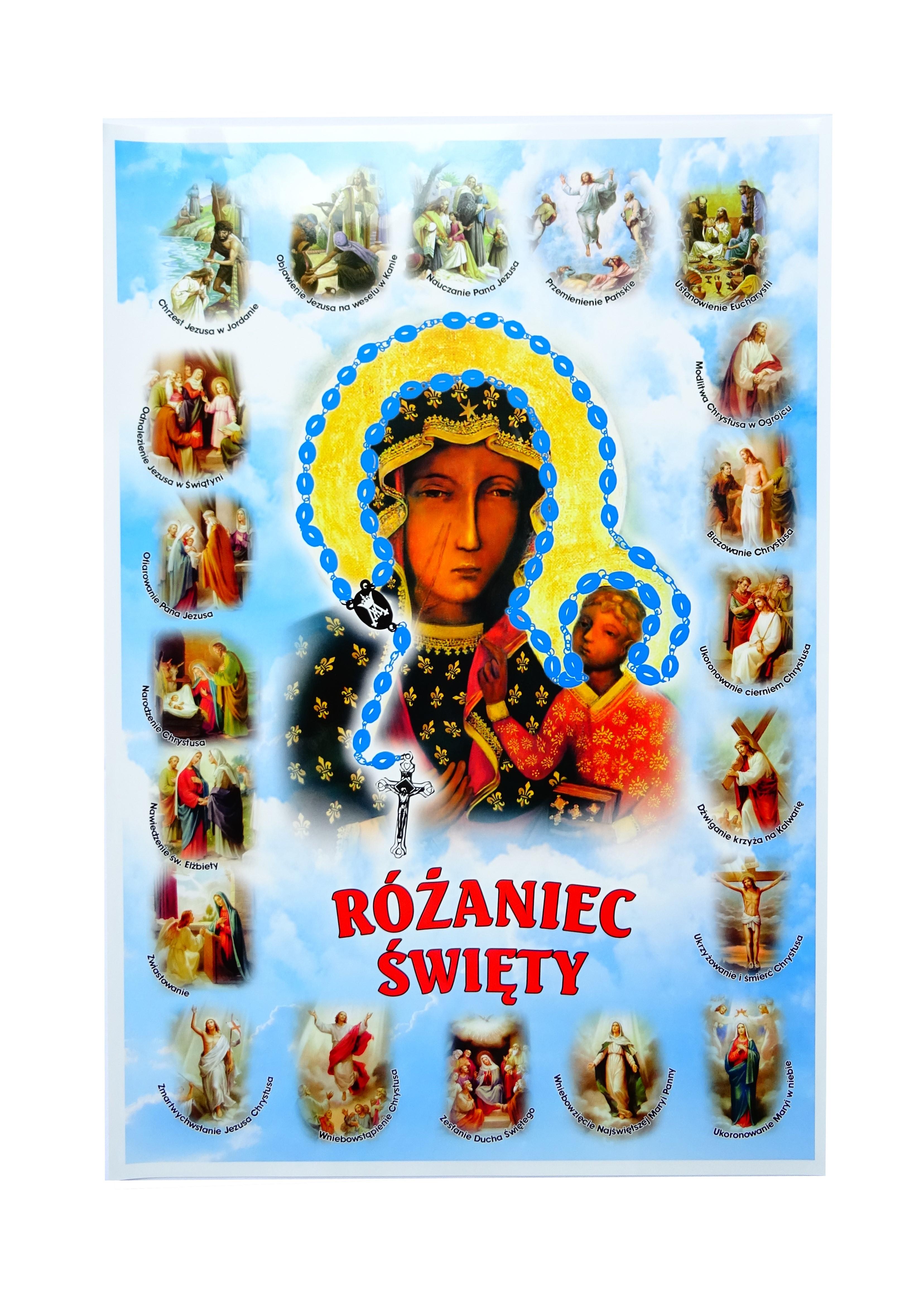 Plakat Nabożeństwo Różańcowe Matka Boska Częstochowska